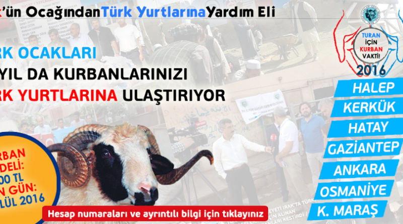 2016 Türk Yurtları Kurban Kampanyamız Başladı
